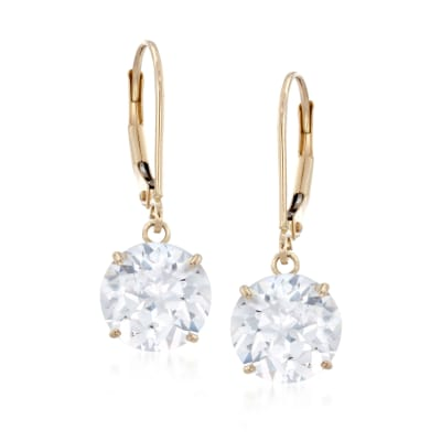 6.00 ct. t.w. CZ Drop Earrings in 14kt Yellow Gold