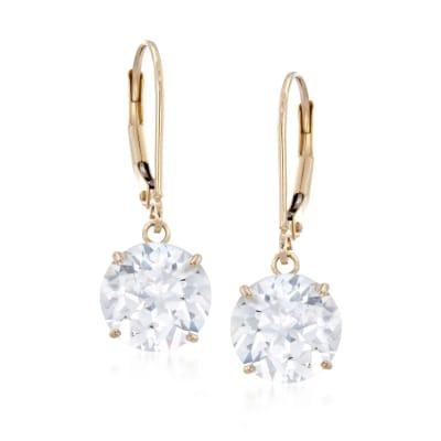 6.00 ct. t.w. CZ Drop Earrings in 14kt Yellow Gold