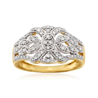.32 ct. t.w. Diamond Vintage-Style Ring in 18kt Gold Over Sterling