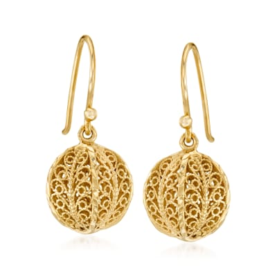 18kt Gold Over Sterling Openwork Bead Drop Earrings