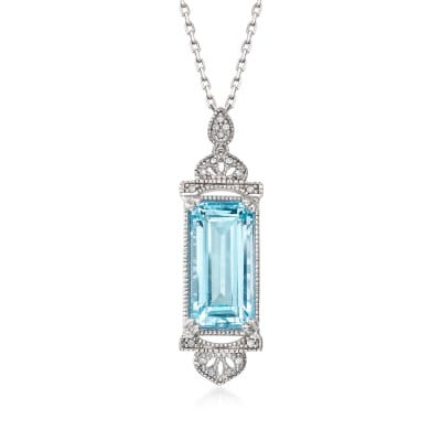 4.80 Carat Sky Blue Topaz Pendant Necklace with Diamond Accents in Sterling Silver