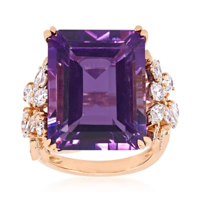 20.00 Carat Amethyst and 1.75 ct. t.w. Diamond Ring in 14kt Rose Gold