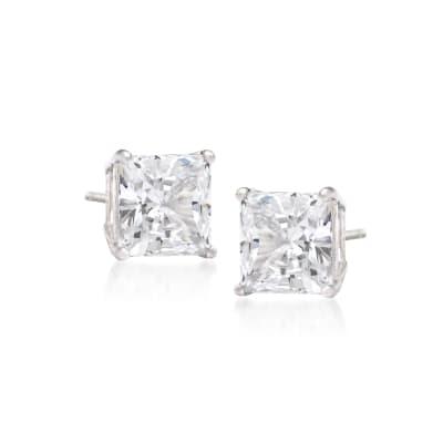 .75 ct. t.w. Princess-Cut Diamond Stud Earrings in 14kt White Gold