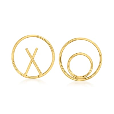 14kt Yellow Gold XO Mismatched Earrings