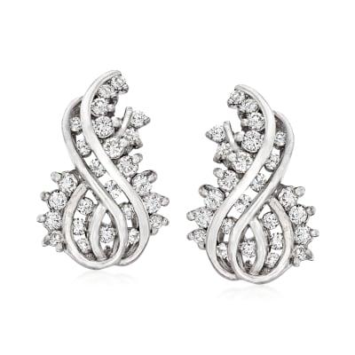 C. 1980 Vintage 2.00 ct. t.w. Diamond Swirl Earrings in 14kt White Gold
