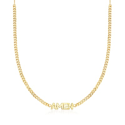 """Amen"" Adjustable Curb-Link Necklace in 14kt Yellow Gold"
