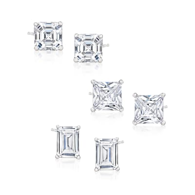 8.00 ct. t.w. CZ Jewelry Set: Three Pairs of Stud Earrings in Sterling Silver