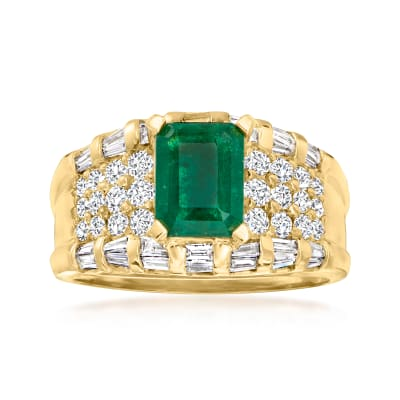 1.13 ct. t.w. Diamond and .48 Carat Emerald Ring in 14kt Yellow Gold