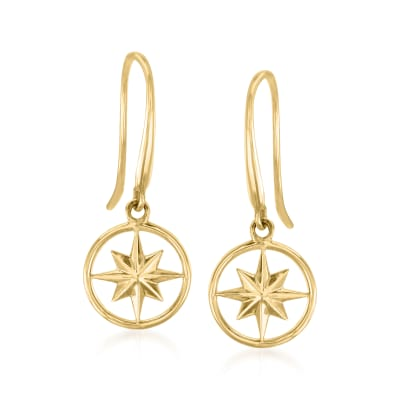 14kt Yellow Gold North Star Drop Earrings