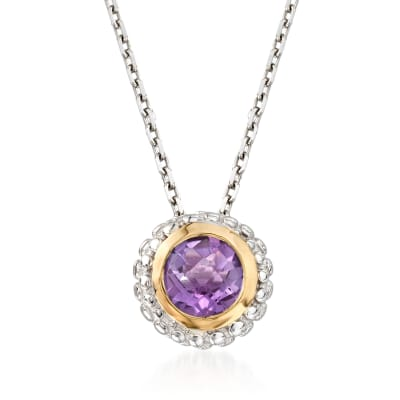 "Phillip Gavriel ""Popcorn"" .36 ct. t.w. Carat Amethyst Pendant Necklace in Sterling Silver and 18kt Gold"