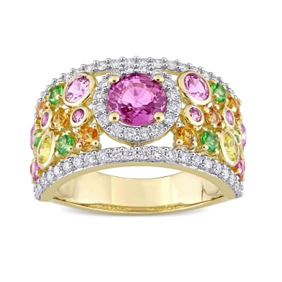 3.38 ct. t.w. Multi-Gemstone and .54 ct. t.w. Diamond Ring in 14kt Yellow Gold