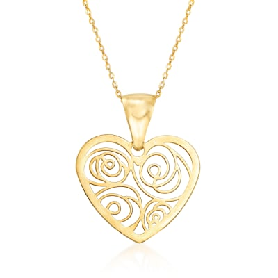 Italian Openwork Heart Pendant Necklace in 14kt Yellow Gold