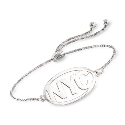 Sterling Silver Personalized Destination Bolo Bracelet