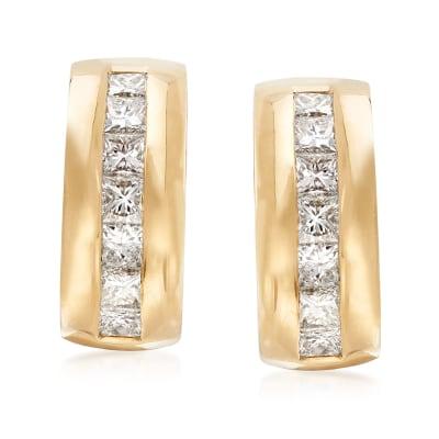C. 1990 Vintage Tiffany Jewelry 1.74 ct. t.w. Diamond Clip-On Drop Earrings in 18kt Yellow Gold
