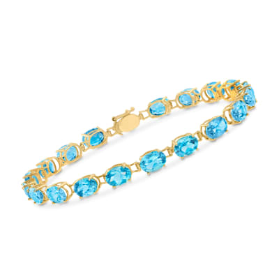 17.00 ct. t.w. Oval Swiss Blue Topaz Bracelet in 14kt Yellow Gold