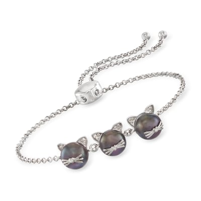 8-8.5mm Black Cultured Pearl Cat Bolo Bracelet with Diamond Accents in Sterling Silver