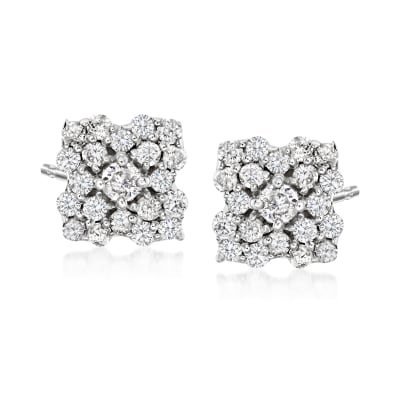 .40 ct. t.w. Diamond Flower Stud Earrings in Sterling Silver