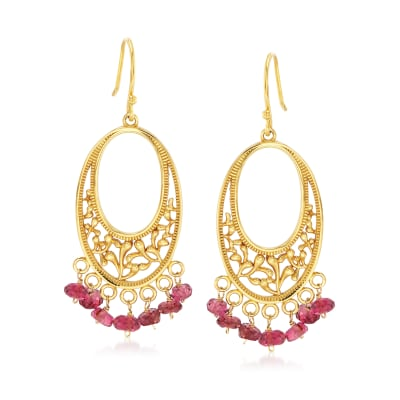 2.90 ct. t.w. Pink Tourmaline Openwork Drop Earrings in 18kt Gold Over Sterling