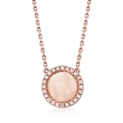 .16 ct. t.w. Diamond Single-Initial Circle Necklace in 14kt Rose Gold