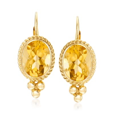 3.20 ct. t.w. Citrine Rope Edge Earrings in 14kt Yellow Gold