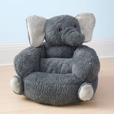 Children's Plush Gray Elephant Chair