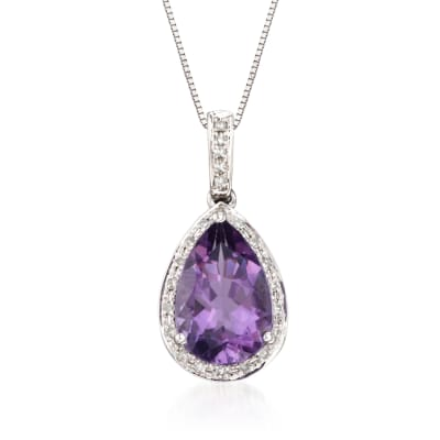 2.65 Carat Amethyst Pendant Necklace with .10 ct. t.w. Diamonds in 14kt White Gold
