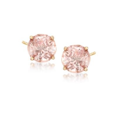 "3.00 ct. t.w. Pink ""Morganite"" Topaz Post Earrings in 14kt Yellow Gold"