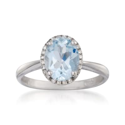 1.45 Carat Aquamarine Ring with Diamonds in 14kt White Gold