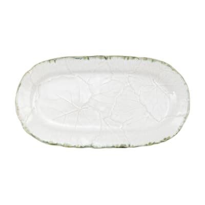 "Vietri ""Foglia"" White Small Oval Platter from Italy"