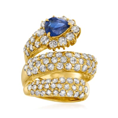 C. 1990 Vintage 1.22 Carat Sapphire and 3.00 ct. t.w. Diamond Wrap Ring in 18kt Yellow Gold