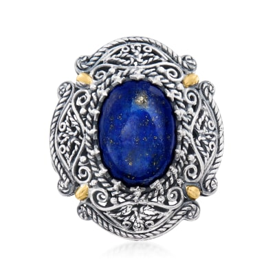 Lapis Bali-Style Ring in Sterling Silver with 18kt Yellow Gold