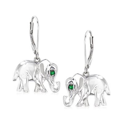 Tsavorite-Accented Sterling Silver Elephant Drop Earrings