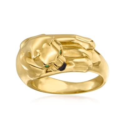 C. 1980 Vintage Cartier 18kt Yellow Gold Panther Ring