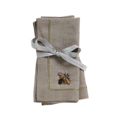 Joanna Buchanan Stripey Bee Flax Linen Dinner Napkins