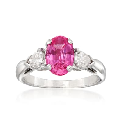 C. 2000. Vintage 1.61 Carat Pink Sapphire and .70 ct. t.w. Diamond Ring in Platinum