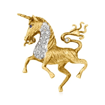 C. 1970 Vintage .33 ct. t.w. Diamond Unicorn Pin in 14kt Two-Tone Gold