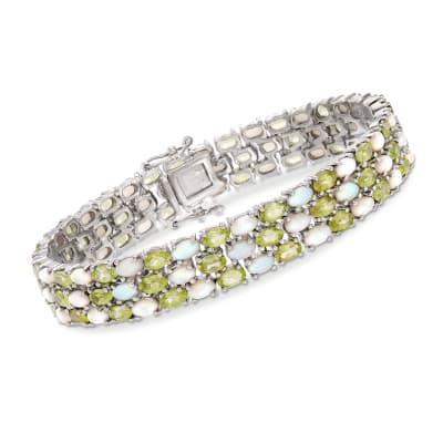 12.00 ct. t.w. Peridot and Opal Bracelet in Sterling Silver