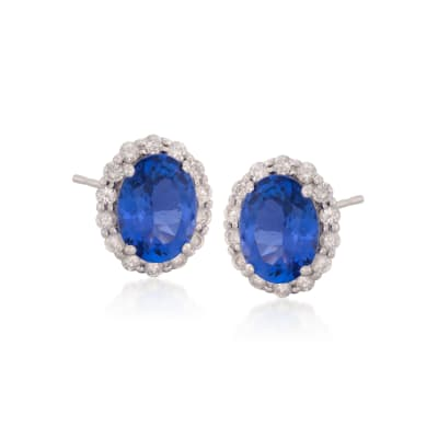 2.64 ct. t.w. Tanzanite and .48 ct. t.w. Diamond Stud Earrings in 14kt White Gold