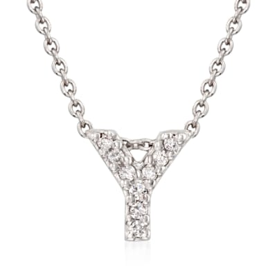 "Roberto Coin ""Love Letter"" Diamond Accent Initial ""Y"" Necklace in 18kt White Gold"