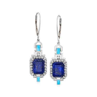 Lapis and .70 ct. t.w. White Topaz Drop Earrings with Turquoise Enamel in Sterling Silver