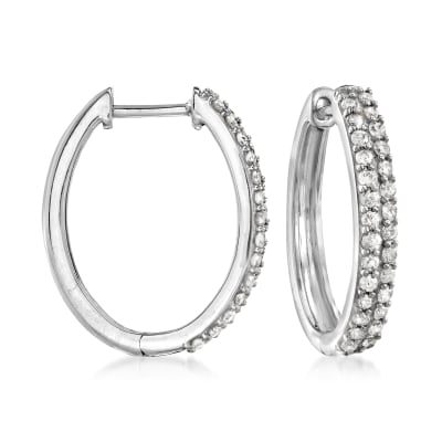 .50 ct. t.w. Pave Diamond Oval Hoop Earrings in Sterling Silver