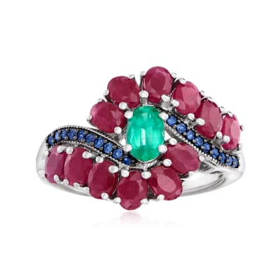4.40 ct. t.w. Multi-Gemstone Ring in Sterling Silver