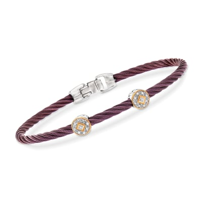 "ALOR ""Shades of Alor"" Burgundy Stainless Steel Cable Bracelet with Diamond Accents and 18kt Yellow and White Gold"