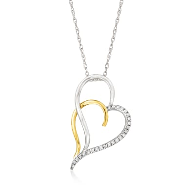 .25 ct. t.w. Diamond Open-Space Double-Heart Pendant Necklace in Sterling Silver and 14kt Yellow Gold