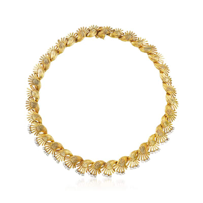 C. 1970 Vintage 2.25 ct. t.w. Diamond Floral Necklace in 18kt Yellow Gold