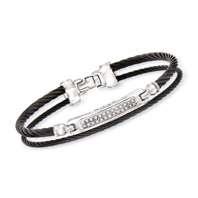 "ALOR ""Noir"" .13 ct. t.w. Diamond Black Stainless Steel Cable Bracelet with 18kt White Gold"