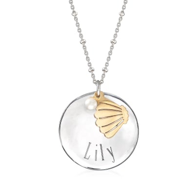Sterling Silver Personalized Disc Necklace with 4mm Cultured Pearl and 14kt Yellow Gold Shell Charm