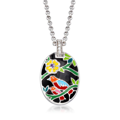 "Belle Etoile ""Song Bird"" Multicolored Enamel Pendant with CZ Accents in Sterling Silver"