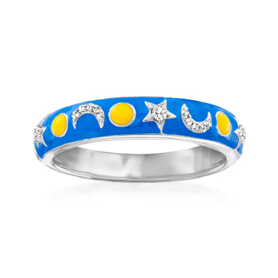 Diamond-Accented and Multicolored Enamel Star and Moon Ring in Sterling Silver