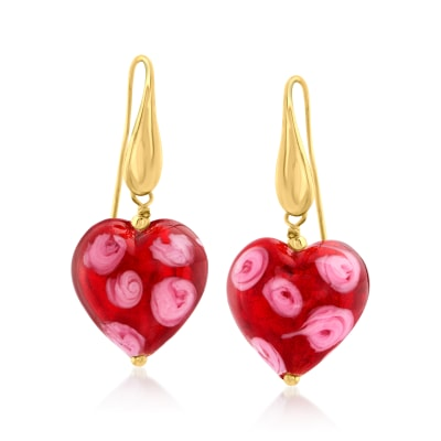 Italian Murano Glass Red Heart Drop Earrings in 18kt Gold Over Sterling